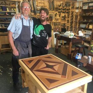 Nathan was pretty happy with this lovely table he made!