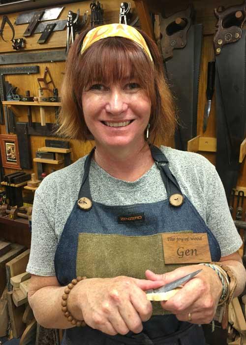 Team member Gen smiling for her Joy of Wood picture