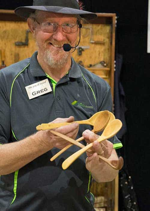 Greg Miller doing a presentation at the wood show in claremont